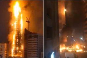 Ả Rập: Tòa nhà chọc trời ở UAE cháy nghi ngút như cột lửa